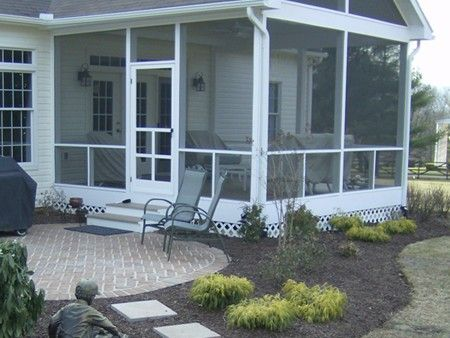 Screened Patio with door, gutter and downspouts Very simple design that works. Just change the door location
