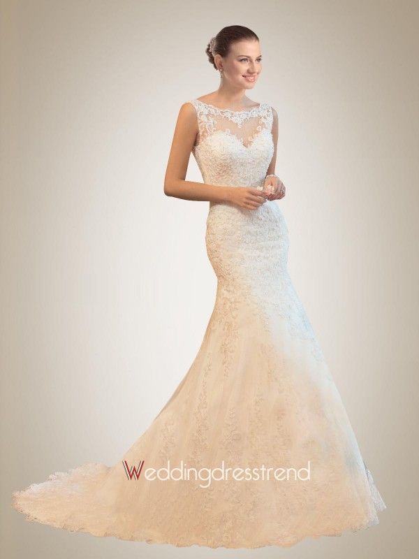 Fabulous Mermaid Sheer Neckline Lace Wedding Dress