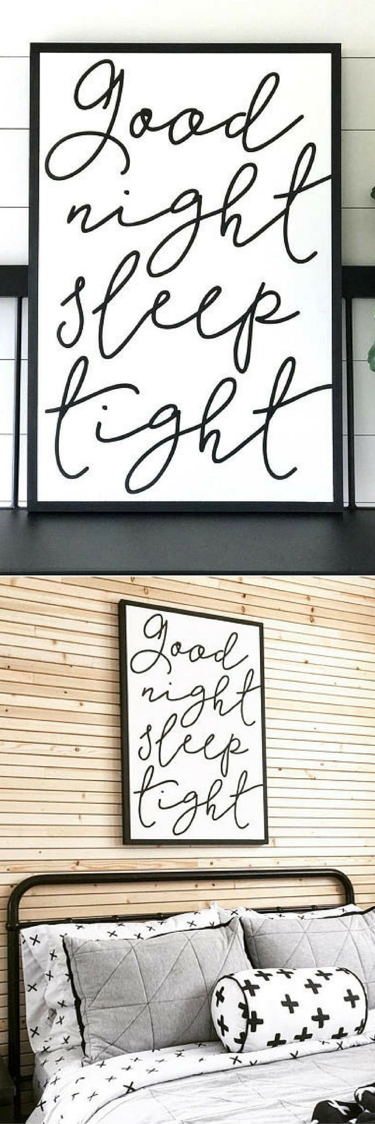 "GOOD NIGHT Sleep Tight Painted Wood Sign - 24x36""   Wall decor, Rustic Chic, Modern Farmhouse, nursery decor, bedroom art, rustic decor, farmhouse decor #ad #affiliatelink"