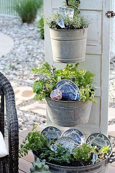 diy backyard kitchen herb garden, gardening, repurposing upcycling