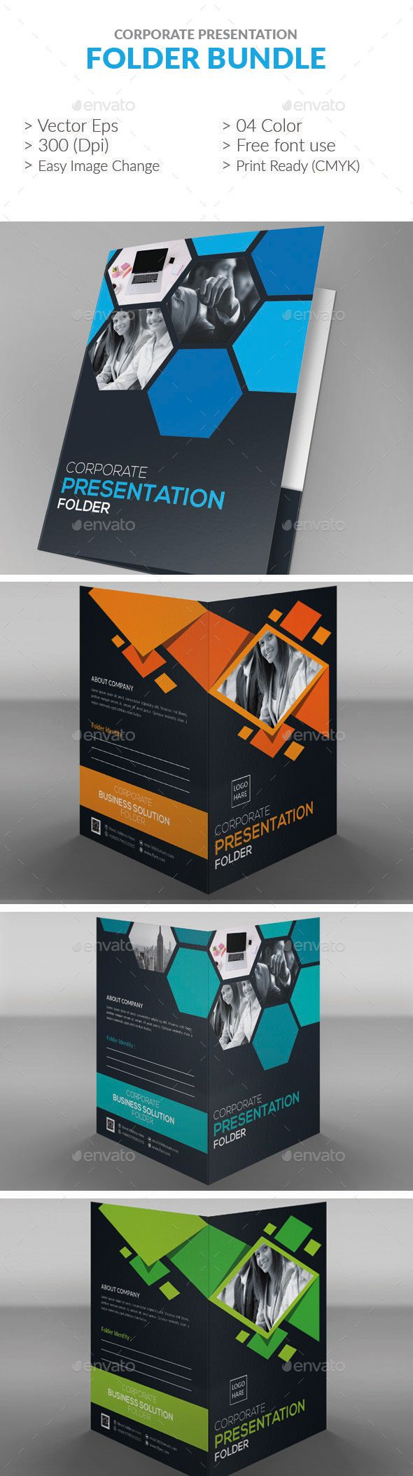Presentation Folder Bundle - #Stationery #Print #Templates Download here: https://graphicriver.net/item/presentation-folder-bundle/19457921?ref=alena994