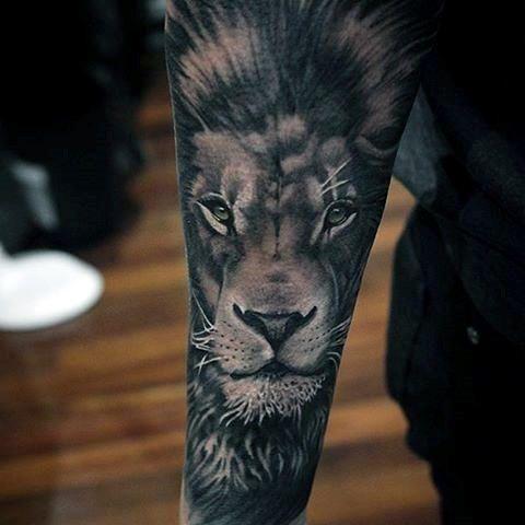Realistic Lion Portrait Guys Forearm Sleeve Tattoos
