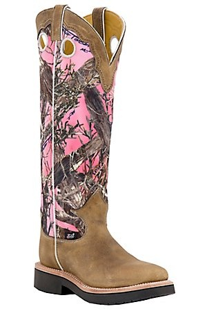 Justin Ladies Distressed Brown w/ Pink Camo Top Square Toe Snake Proof Boots