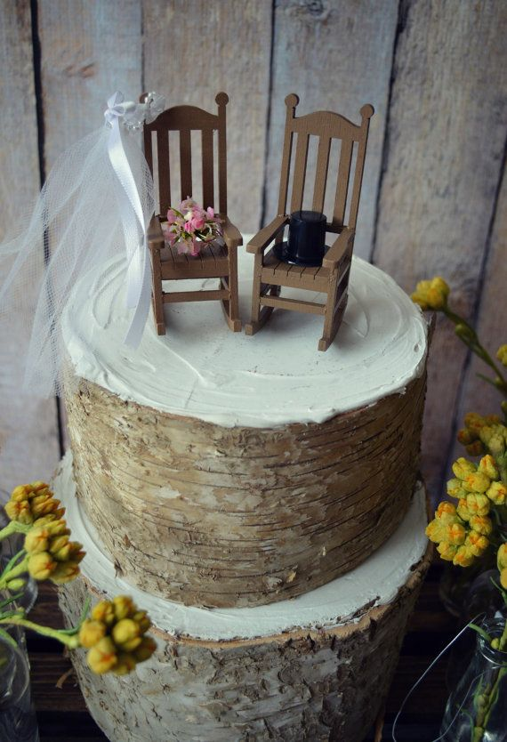 Rocking chair-cake topper-rustic-shabby-woodlands-Mr.and Mrs.-wedding cake topper-wedding-country-bride and groom-chairs-just married