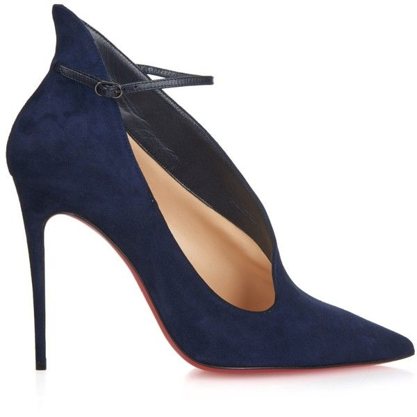 Christian Louboutin Vampydoly suede pumps found on Polyvore featuring shoes, pumps, heels, sapatos, scarpe, navy, navy blue suede shoes, suede ankle strap pumps, navy suede shoes en christian louboutin