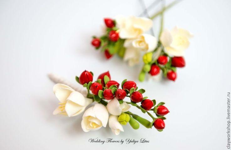 Купить Бутоньерка для жениха - ярко-красный, ягоды, бутоньерка, гиперикум, фрезия, свадьба, свадьба 2013