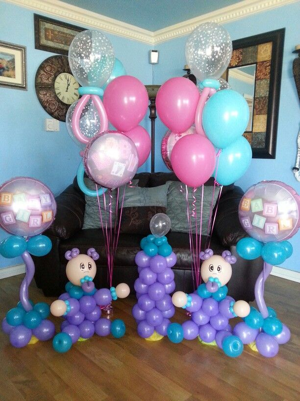 Baby balloon centerpieces with baby bottle and much more for Baby bottle balloon decoration