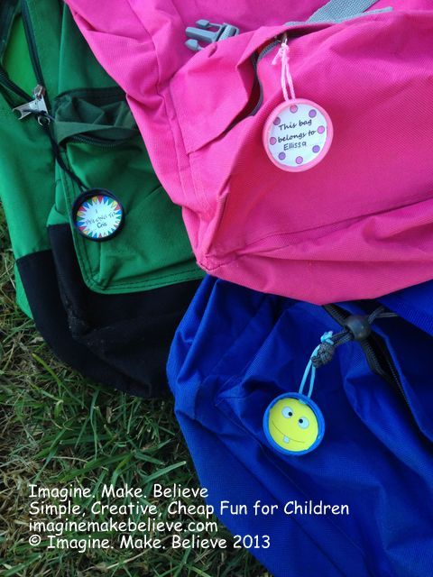 Back to School Bag Tags - Imagine. Make. Believe, bag tag, school, milk bottle lid, juice bottle lid, recycle, upcycle, children, free, tutorial, kids #backtoschool #bagtag #kids #school #craft