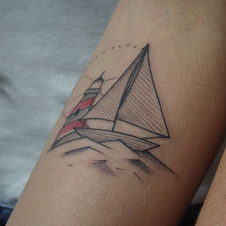 Lighthouse and Sailboat Tattoo by zanottovictor