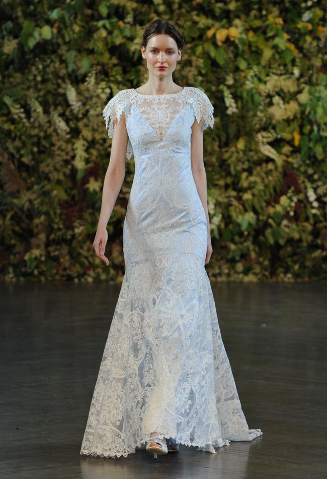 Blue Underlay Wedding Dress   Claire Pettibone Wedding Dresses Fall 2015   Kurt Wilberding   blog.theknot.com