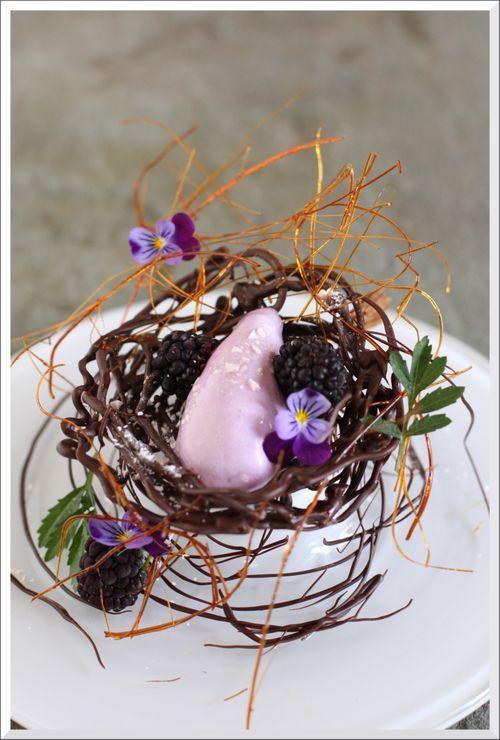 Violet ice cream in chocolate nest...I can't believe I've never made one of these eats before, great idea!