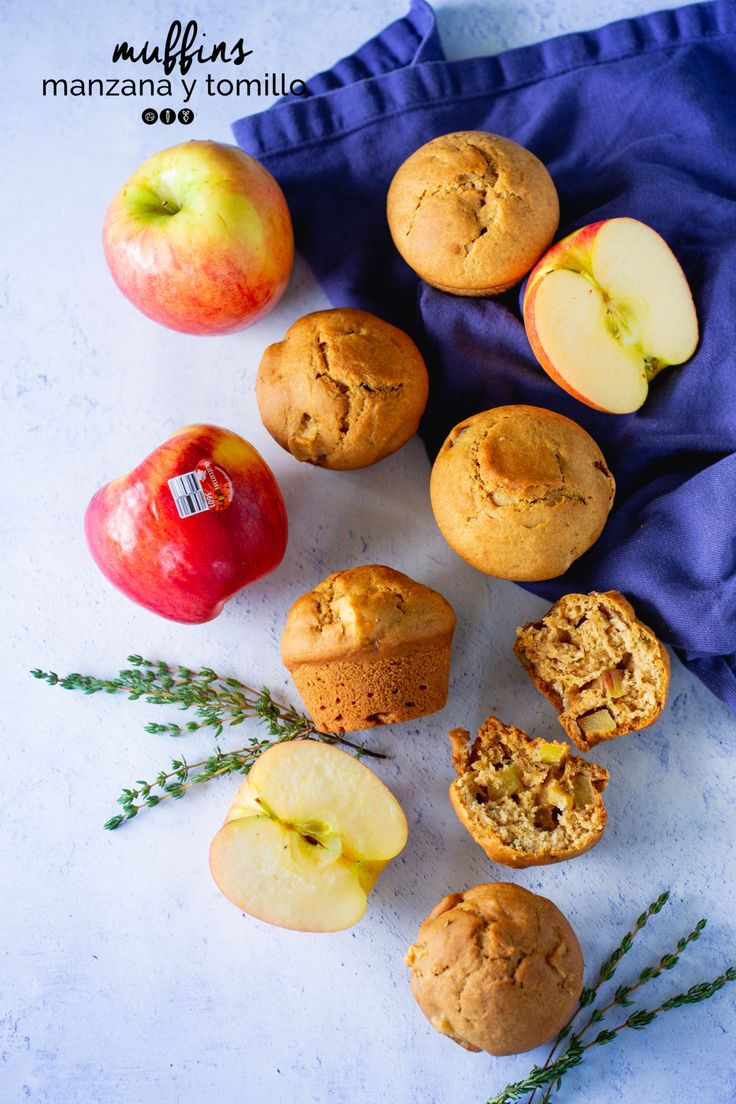 These apple and thyme muffins are delicious, very easy to prepare and vegan. They are full of flavor and perfect for a Sunday brunch. Delicious Vegan Recipes, Yummy Food, Best Apple Recipes, Apple And Peanut Butter, Gluten Free Muffins, Sweet And Salty, Vegan Dishes, Instagram, Sunday Brunch