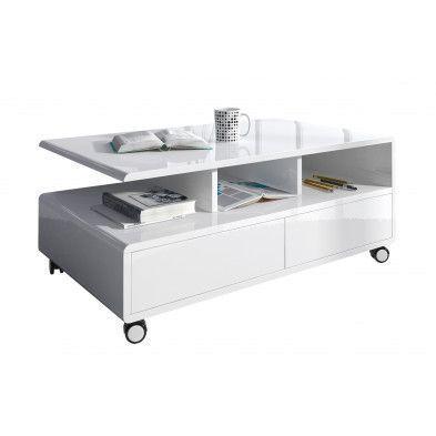 Table basse rectangulaire à roulette coloris blanc laqué