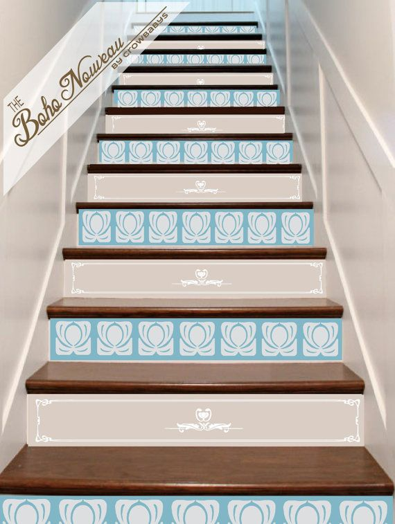 Stair Decals Vinyl Risers 13 Panels Art Nouveau 2 By