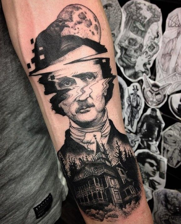 A unique portrait of Edgar Allan Poe #literarytattoos