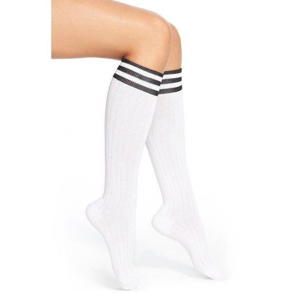 Arthur George by R. KardashianTube Socks ($18) ❤ liked on Polyvore featuring intimates, hosiery, socks, white, white striped socks, knee high tube socks, striped tube socks, white hosiery and striped socks