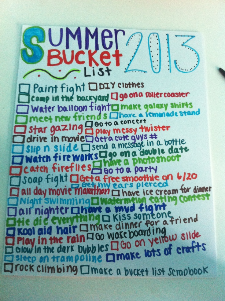 Summer bucket list for this summer in 2014!  ( even though it says 2013 )