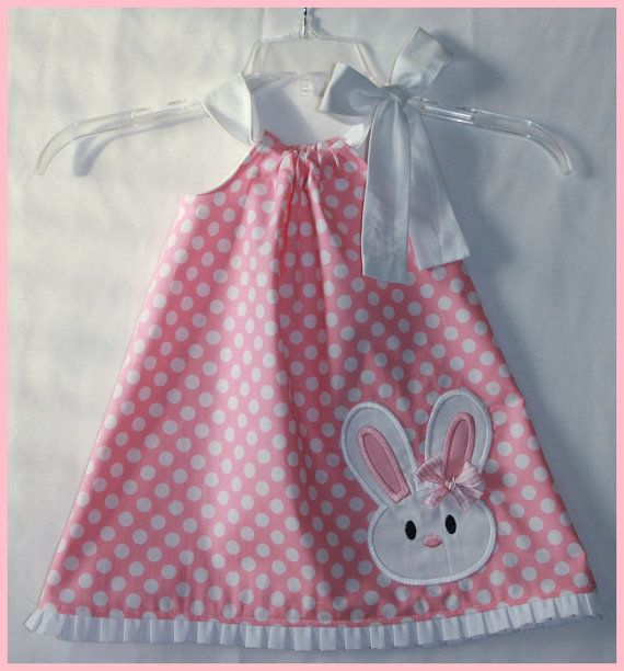 Super Cute Bunny applique dress Pink Polka by LilBitofWhimsyCoutur, $26.00 Too cute. SS would look great in this.