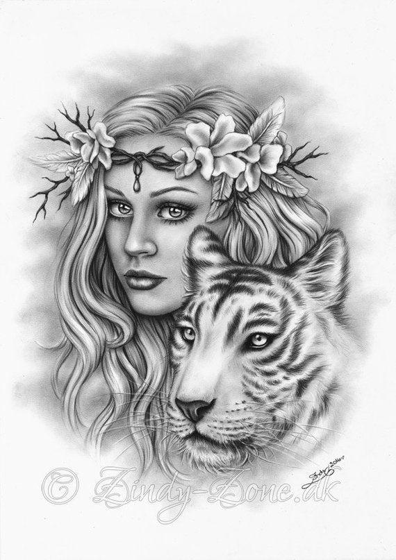 Beautiful Strength Cherry Blossom Flower White Tiger Girl Spring Art Print Glossy Emo Fantasy Girl Z
