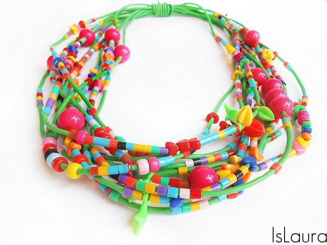 collana con filo da giardiniere e perline