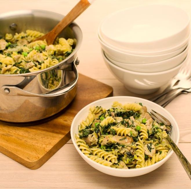 Pesto chicken pasta is a family favourite, and this version gets a healthy boost with the addition of heaps of fresh veges - the kids will love it!