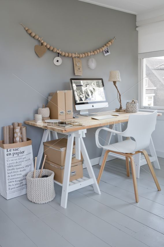 White and timber workspace. Love the mix of white, grey and light wood. Simple, modern shapes with a nearly mono chromatic color scheme.