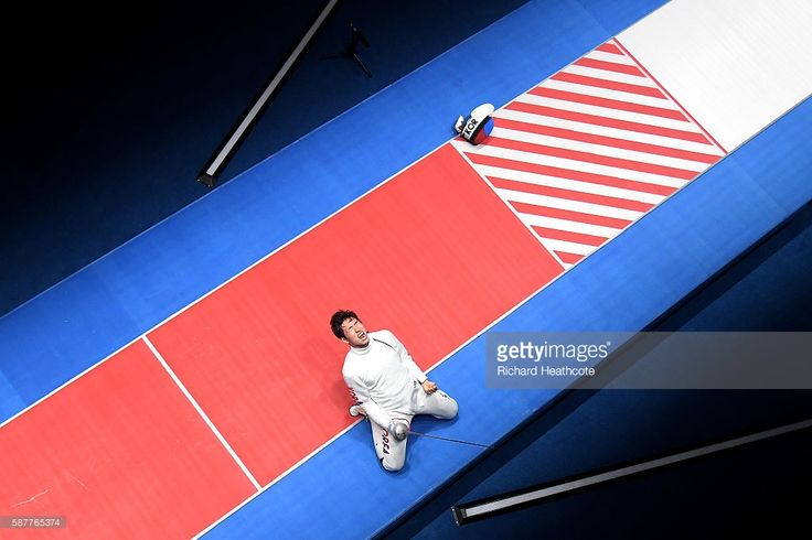 Sangyoung Park of Korea celebrates after defeating Geza Imre of Hungary during the gold medal medal bout in the Men's Epee Individual on Day 4 of the Rio 2016 Olympic Games on August 9, 2016 in Rio de Janeiro, Brazil.