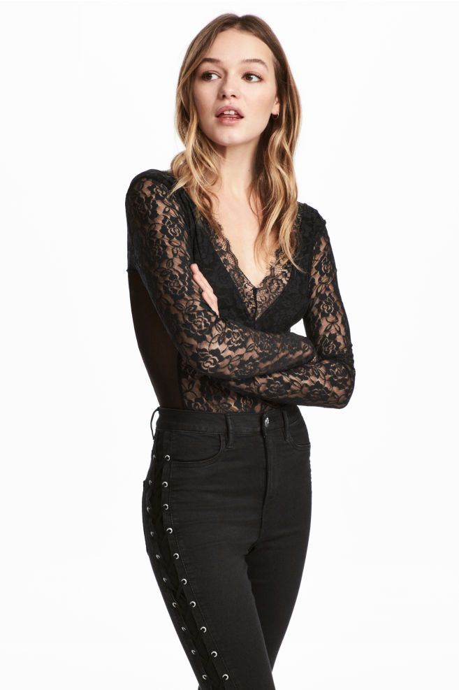 67d21f57c Long-sleeved Lace Bodysuit - Black - | H&M CA | @giftryapp | clothing |  Pinterest | Lace body, Lace and Lace bodysuit