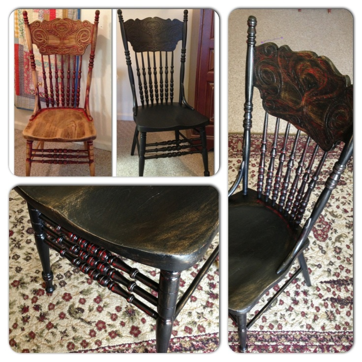Press Back Chair Makeover Black Over Red Distressed