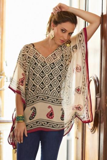 Kasbah Top - Ladies Print Top, Paisley Top, Drawstring Adjustable Top | Soft Surroundings