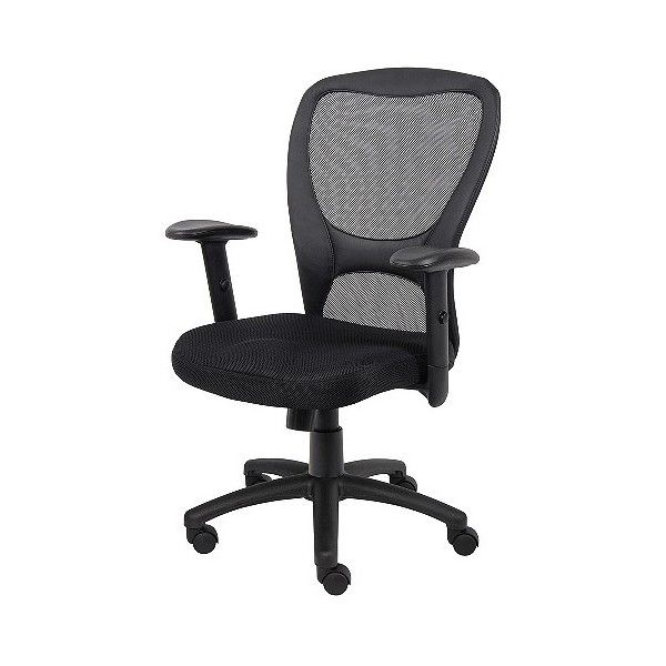 Mesh Task Chair ($130) ❤ liked on Polyvore featuring home, furniture, chairs, office chairs, black, ebony furniture, boss hugo boss, black desk chair, mesh desk chair and black office chair