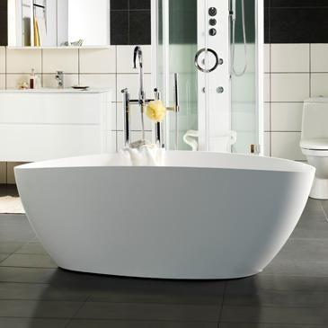 20080481   Westerbergs Ellipse badekar 1570x705 mm, Frittstående, Hvit matt 17000