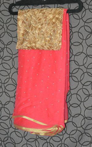 Tamato Red Pure Chiffon saree Combined with Embroidery work designer b – Swanila The Fashion Store