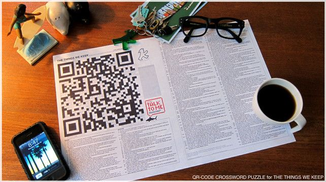A merge of old + new: a crossword that doubles as a QR code.