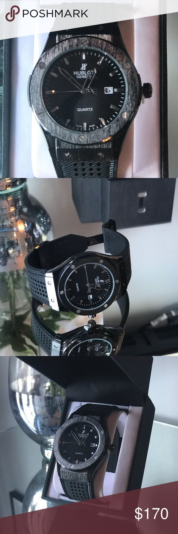 Hublot Black professional edition Brand New Black Elastic with Black face and deep chrome finish Hublot Accessories Watches