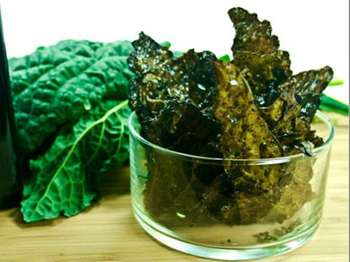 Savory Coconut Oil Kale Chips:  Have made these before (different recipe, before I started using coconut oil) and they shrivel up (so use a lot). Trader Joe's sells a bag of kale leaves all ready to go and dump onto a pan. A fun little snack. TJ's also sells a high-quality virgin coconut oil, if you're in the market for one.