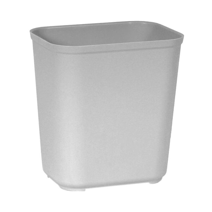 7 gal. Grey Rectangular Fire-Resistant Trash Can, Gray