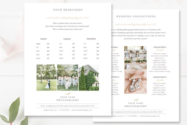 Photography Price List Template, Investment Templates, Photoshop Template
