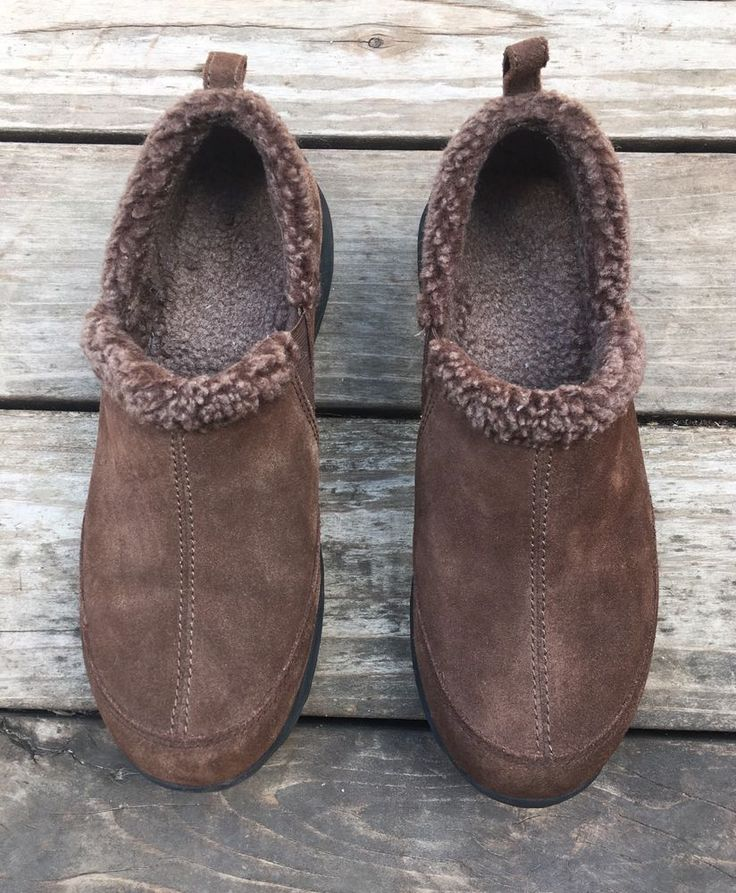 Lands End Brown Suede Loafers Sherpa Lined Clogs Women's Size 10 B  | eBay