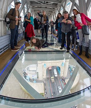 World's Coolest New Tourist Attractions 2015: Tower Bridge Glass Floor, London.  Did not see this...must go back!!