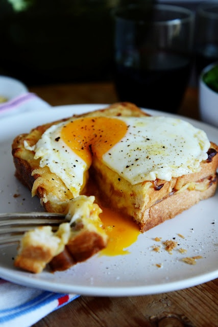 Croque Madame.  This is so simple and so yummy - the French don't generally eat it for breakfast, but it is great for Sunday brunch.