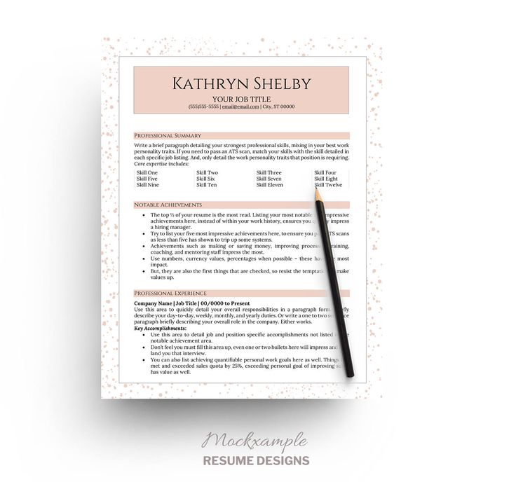 Resume Template \/ CV Modern Graduate Professionals by Mockxample - listing skills on a resume