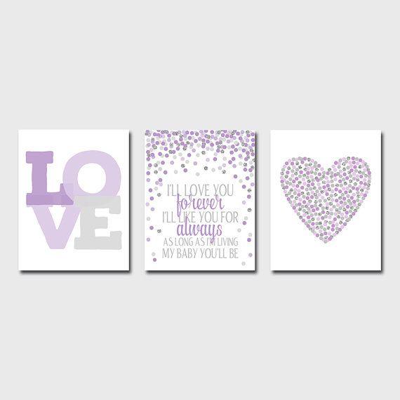 Set of 3 Prints 8x10 Purple Nursery Decor Purple by EllenPrintable