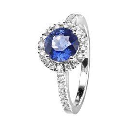 Eleganter Ring Prague Coloured, Saphir mit diamantbesetzter Ringschiene und funkelnden Diamanten im Kreis. Prachtvoller Ring mit zentralem blauen Saphir Edelstein von RenéSim.