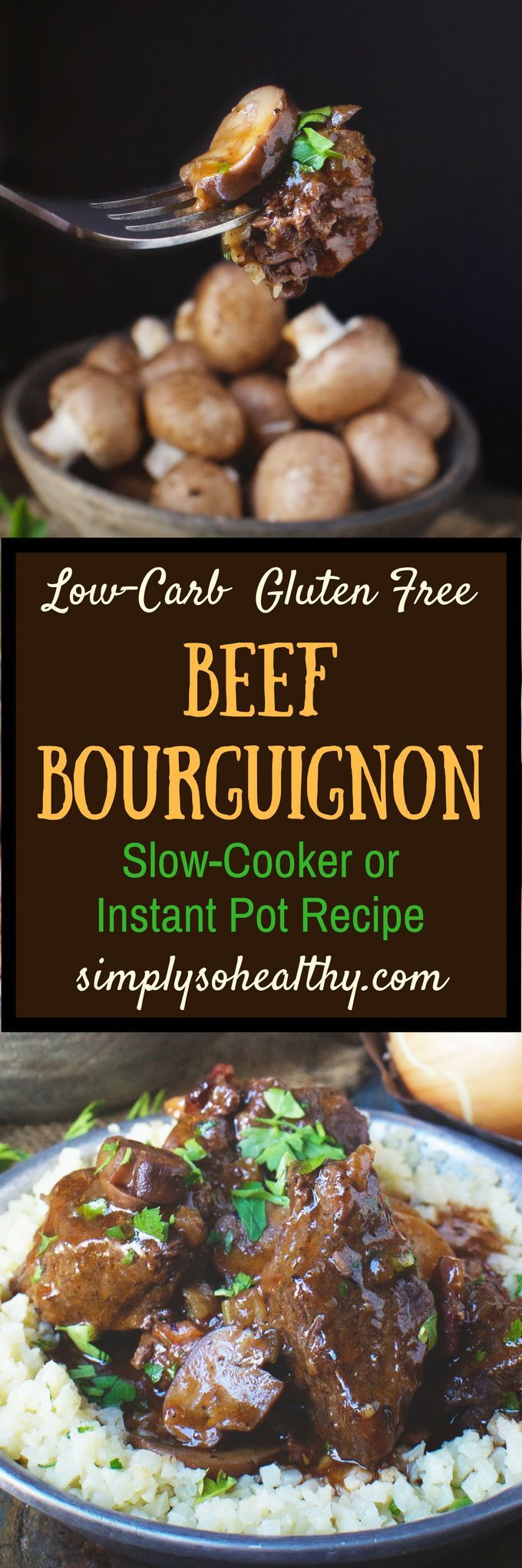 This recipe for Low-Carb Beef Bourguignon Stew can be made in an Instant Pot or a slow cooker. I've altered this traditional French stew recipe so it can be part of a low-carb, keto, Atkins, diabetic, Paleo, gluten-free, grain-free, or Banting Diet.#lowcarb #keto #instantpot #beefstew
