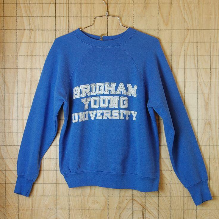 アメリカ古着BRIGHAM YOUNG UNIVERSITY(ブリガムヤング大学)ブルー(青)プリントカレッジスウェット・トレーナー【Velva Sheen】