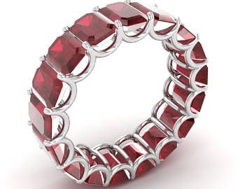 Ruby Ring, Eternity Wedding Ring In 14K Gold | Ruby Anniversary Ring | Emerald Cut Ruby Anniversary Ring | Natural Ruby Ring | Wedding Ring
