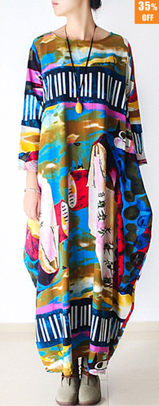 Gracila Women Abstract Print O-Neck Long Sleeve Maxi Dress. #women #dresses #fashion