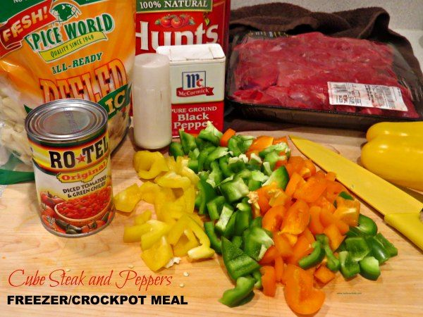 Looking for a very easy meal to make that will taste like you slaved in the kitchen all day? Try our Cube Steak and Peppers Crock Pot Recipe! I like to use several colors of bell pepper to make this dish pretty. You can serve it with rice to round out your meal. Note: This recipe freezes well.