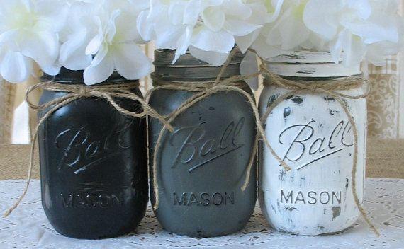 Mason Jars, Ball jars, Painted Mason Jars, Flower Vases, Rustic Wedding Centerpieces, Black, White and Grey Mason Jars